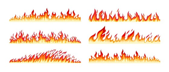 Fire borders on white. Cartoon flame banner border elements, orange burn bounds, blazing line vector images isolated