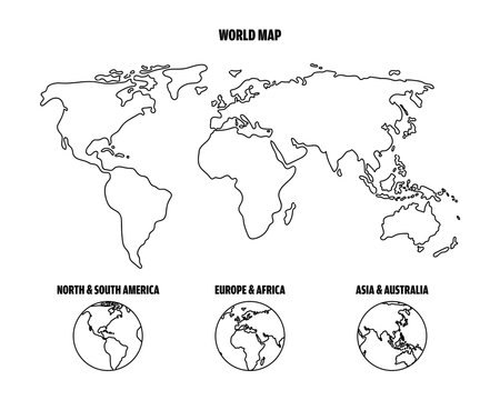 Outline world map and World map in Hemispheres. Graphic sketch doodle style.