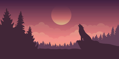 wolf howls at full moon blue mystic nature landscape vector illustration EPS10