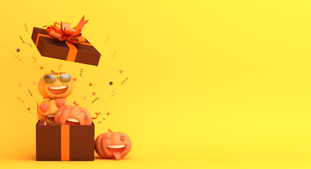Cute cartoon pumpkin, gift box, confetti on orange background. Design creative concept of happy halloween celebration holiday. 3D rendering illustration.