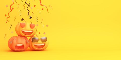 Cute cartoon pumpkin, confetti on orange background. Design creative concept of happy halloween celebration holiday. 3D rendering illustration.