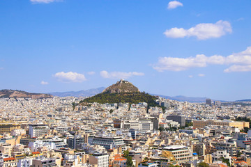 View to Athens and Mount Lycabettus, Greece