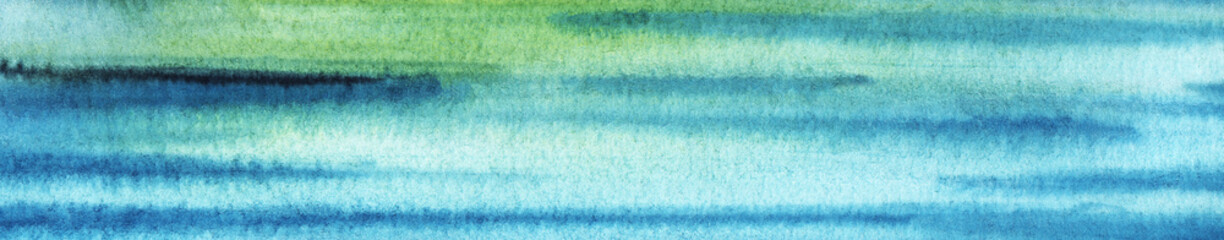 Abstract sea art. Hand drawn background in blue, gree shades. Watercolor texture with granulation. Multi colored stripes and ripples viewed as color transition. Brush stroked painting