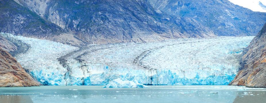 Closeup Panorama of the Dawes Glacier in Alaska
