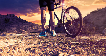 Extreme sports and adventure..Mountain bike and adventure man in action.Healthy life style in outdoor