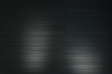 Abtsract background with black polished metal horizontal lines with light spots.