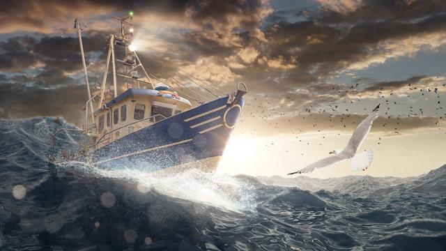 Fischerboot auf rauer See