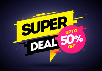 Vector illustration super deal, special offer banner template in flat trendy geometric style. Web banner designs