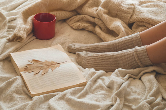 Cozy Autumn winter evening , warm woolen socks. Woman is lying feet up on white shaggy blanket and reading book.