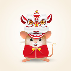 Little Rat or Mouse performs Chinese New Year Lion Dance and Chinese traditional. Isolated.