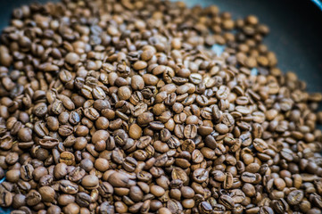 Poster Café en grains Whole grains of roasted coffee