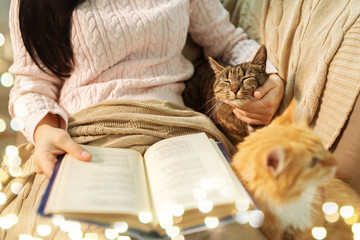 Fototapete - pets, hygge and people concept - close up of red and tabby cat and female owner reading book in bed at home