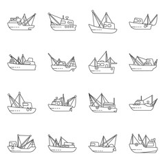 Vector design of commercial and vessel sign. Collection of commercial and speedboat stock symbol for web.