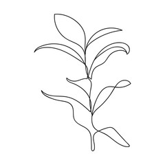 Continuous One Line Drawing. One Line Minimalist Leaves Drawing. Minimalist Leaves Illustration. Vector EPS 10.