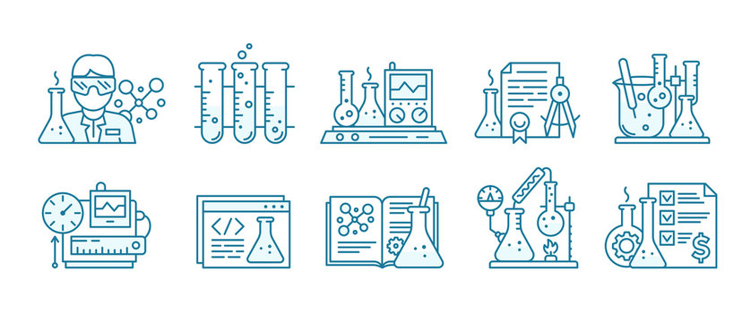 Chemistry science icon set. Education lab background. The production of chemicals kit. Laboratory research experiments equipment. Outline contour blue line.