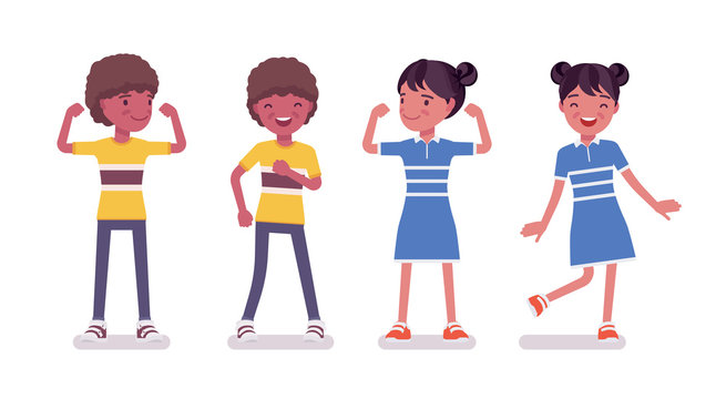 Black boy, girl child 7 to 9 years old, active school age kid wearing summer outfit standing, dancing, athlete showing strong muscles. Vector flat style cartoon illustration isolated, white background