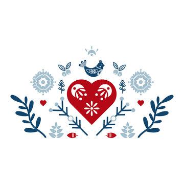 Folk art vector ornament with bird, hearts, and flowers. Scandinavian design.