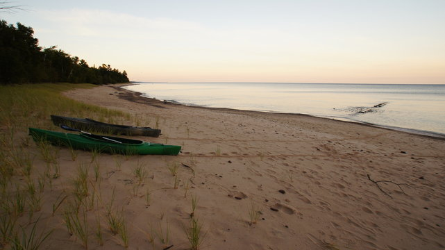 Kayaks on Hurricane Beach by Shipwreck, Picture Rocks