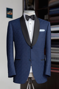Mannequin with bespoke two button jacket in atelier