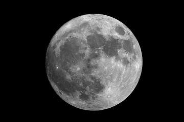 Big closeup to the full phase Moon, isolated in the black space, with no star and some creaters in detail.
