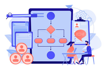 HR manager with employee at interview and business flow chart. Employee assessment software, HR company system, employee check programme concept. Living coral blue vector isolated illustration