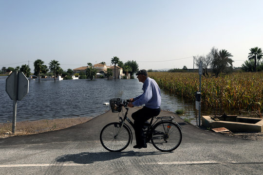 A man rides his bike past a flooded street and field after torrential rains in Dolores near Alicante