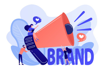 Marketers with megaphone conducting brand awareness campaign. Brand awareness, product research result, marketing survey metrics concept. Living coral bluevector isolated illustration