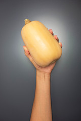 Hand holding a pumpkin on grey background