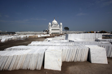 A view shows the supplies of marble slabs for flooring at the construction site of the Gurdwara Darbar Sahib, which will be open this year for Indian Sikh pilgrims, in Kartarpur