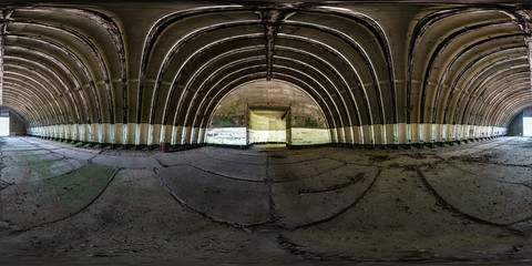 seamless spherical hdri panorama 360 degrees angle view inside of empty old aircraft hangar in equirectangular projection with zenith and nadir, ready for AR VR virtual reality content