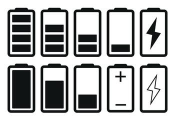 Battery Icon Set, Flat Battery Icon Vector Illustration – Vector