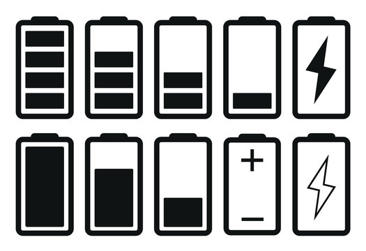 Battery Icon Set, Flat Battery Icon Vector Illustration – Vector