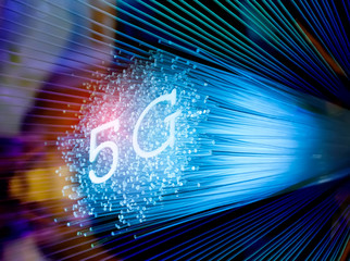 5G signs with Fiber optics background,Communication Concept