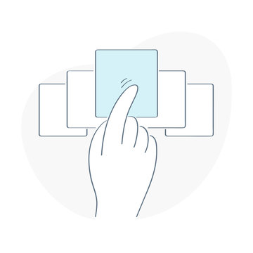 Swipe by hand, choosing offer, slider icon concept. Flat outline UI vector icon.