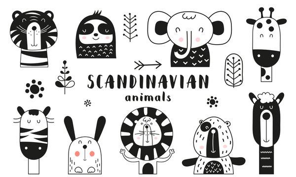 Bw scandinavian animals set. Hand drawn. Doodle cartoon animals for nursery posters, cards, kids t-shirts. Vector illustration. Tiger, lazy sloth, elephant, giraffe, zebra, hare, lion, bear, llama.