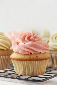 Pink strawberry cupcake