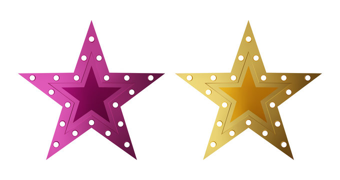 Retro style star shape light sign set. Golden and purple vintage banner with copy space. Vector illustration.
