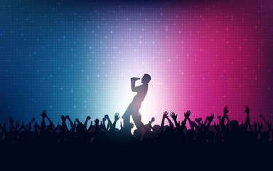 Silhouette of people raise hand up in concert with singer on stage and digital dot pattern on blue red color background