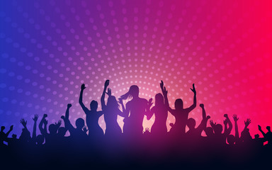 Silhouette of people raise hand up in concert with female dancing on stage and digital dot pattern on blue red color background