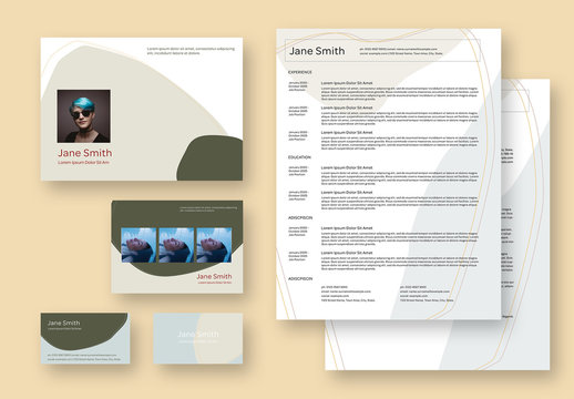 Resume Set Layout with Green Elements