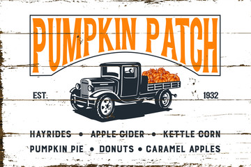 Pumpkin Patch with Old Truck and Shiplap Design