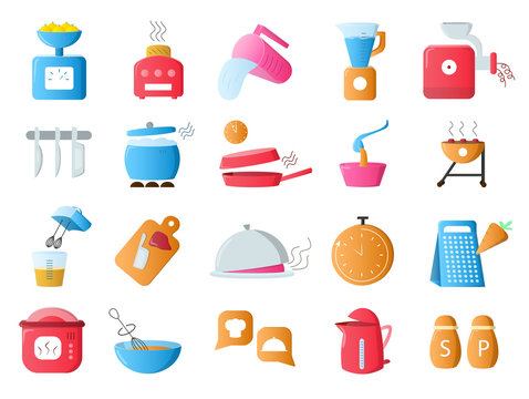 Large set of 20 different colorful restaurant icons showing utensils, appliances, food, cookware, equipment for baking and cooking isolated on white, vector illustration