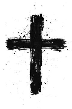 Hand painted black ink cross with brush stroke texture and splatter