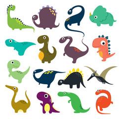 Funny cartoon dinosaurs collection. Vector illustration