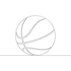 continuous single drawn line art doodle  basketball  ball
