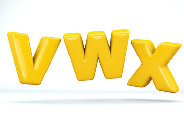 Font glossy plastic yellow, letters V, W, X . 3D render of bubble, isolated on white Background, path save.