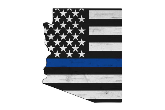 American thin blue line flag on map of Arizona