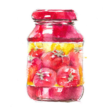 Watercolor realistic illustration, sketch of a can of tomato paste, ketchup on a white background