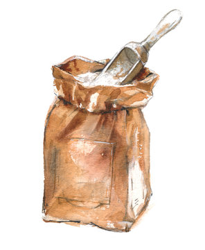 Watercolor illustration of a paper bag with flour, sugar, salt and scoop on a white background.