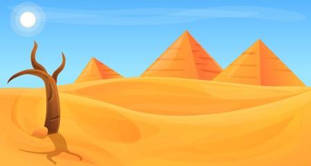 Desert panorama concept banner. Cartoon illustration of desert panorama vector concept banner for web design